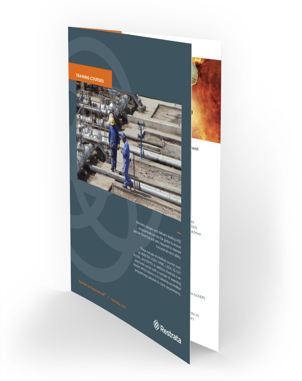 A brochure with a wide scope of trainings offered by Restrata experienced team
